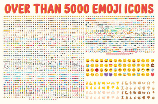 All type of emojis in one big set. Hands, gesture, people, animals, food, transport, activity, sport emoticons. Smiley big collection. Over that 5000 icons