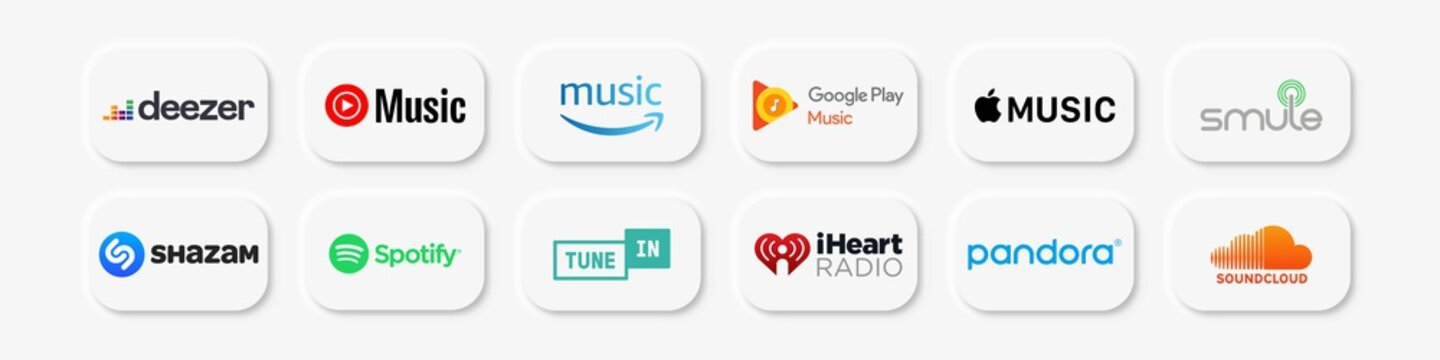 Set of popular music streamimg application. Smule, youtube music, spotify, shazam, deezer, SoundCloud, apple music. Circle icon White web buttons, Neumorphism style.