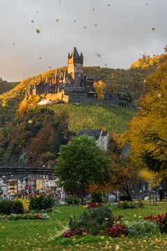 View of Reichsburg with blowing autumn leaves in the morning, Cochem, Rhineland-Palatinate, Germany