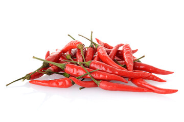 closeup pile of Hanoi Red Peppers Vietnamese Chili on white