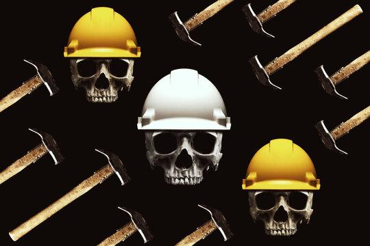 Human skulls wearing worker hard hats, isolated on black background.
