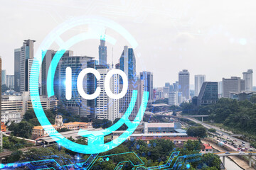 ICO icon hologram over panorama city view of Kuala Lumpur. KL is the hub of blockchain projects in Malaysia, Asia. The concept of initial coin offering. Double exposure. Wall mural