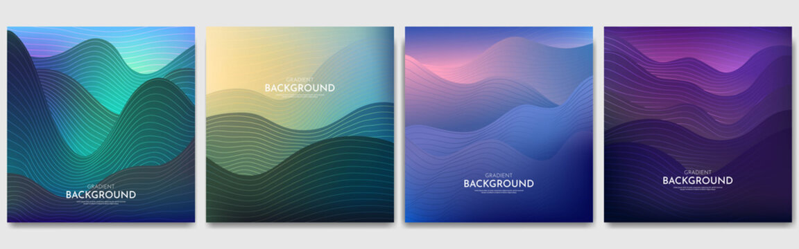 Vector illustration. Minimalist wavy posters. Bright gradient color. Futuristic style. Design for social media templates, banners. Abstract landscapes: mountains, hills, sunset scene.