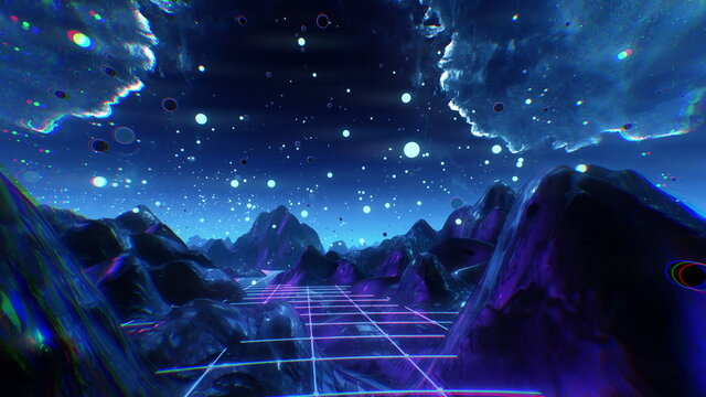 Futuristic flight through trippy landscape background. High quality 3D illustration with mountains, grid, balls for EDM music video, live show, VJ. Psychedelic dream flythrough in 4k