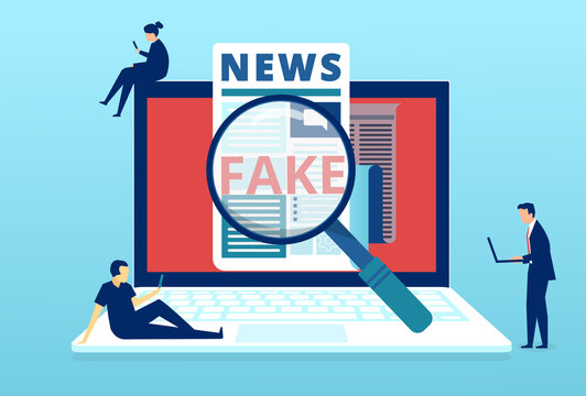 Vector of people fact checking fake news published in social media