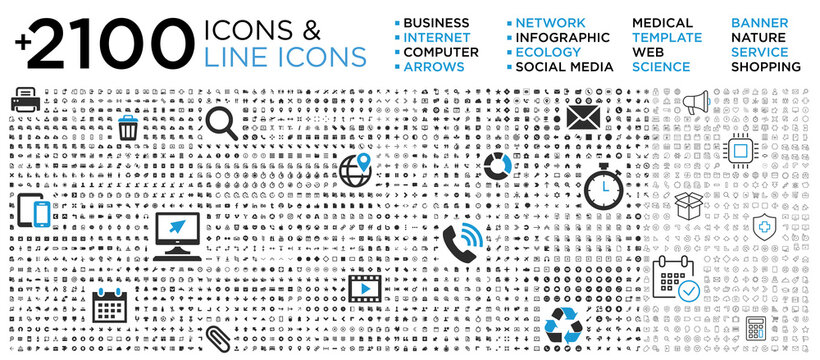 Full set icons: business, computer, internet, medical, social media, arrows, services,...
