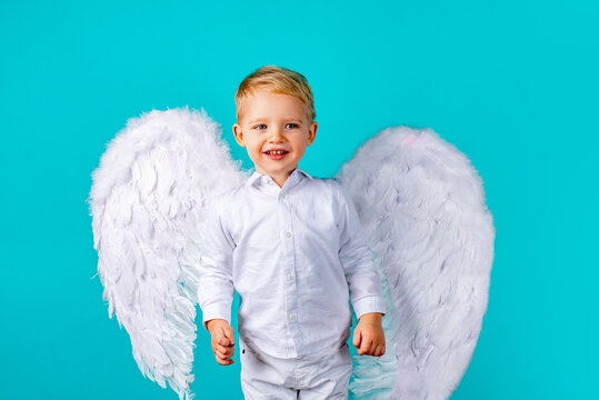 Child angel. Cute baby boy with white feather angel wings on blue background. Valentines day cupid child.