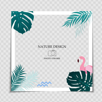 Natural Background Photo Frame Template with Palm leaves amd cute pink flamingo for post in Social Network. Vector Illustration EPS10