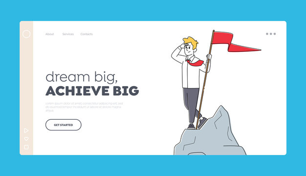 Businessman Leader Landing Page Template. Successful Business Man Character with Red Flag in Hand Stand on Top of Rock