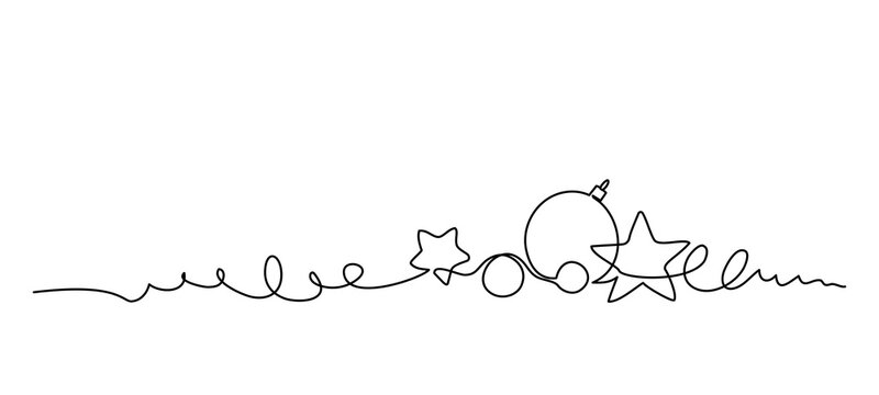 Merry Christmas decoration. Continuous one line art