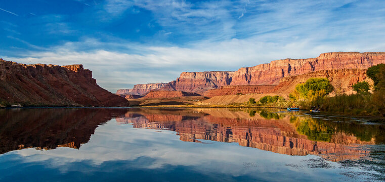 Landscape Reflection Image Of Colorado River At Lees Ferry AZ