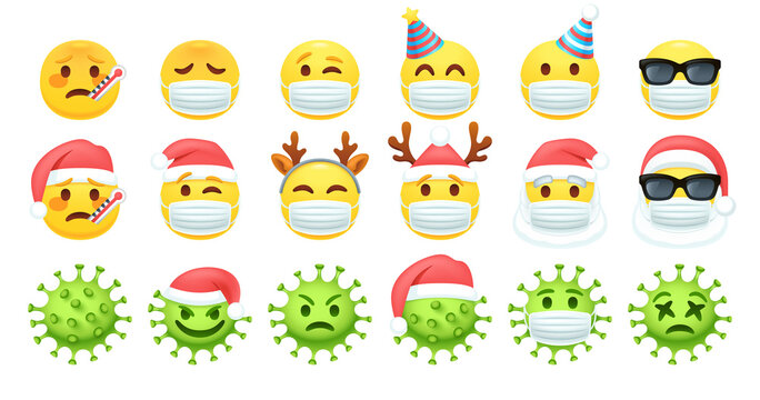 2021 Christmas emoji. Covid face masks, coronavirus xmas and yellow emoticon with fever and thermometer