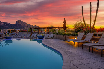Arizona resort with pool during sunset