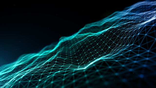 Digital cyberspace futuristic, Green and Blue color particles wave flowing with lines and dots connection, Technology network abstract background. 3d rendering