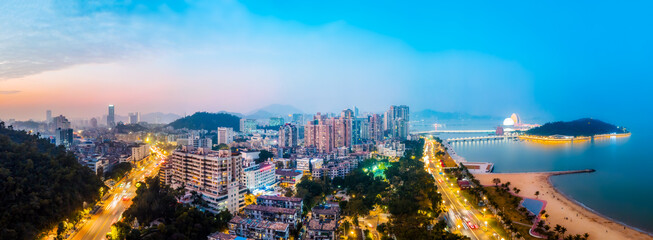 Aerial photography night view of urban architecture landscape in Zhuhai, China