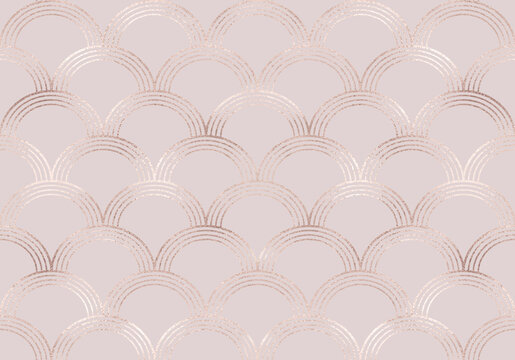 Art deco seamless pattern with rose gold mermaid scales and pink glitter texture.