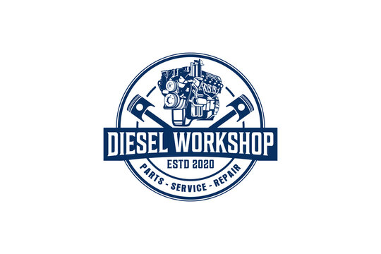 Diesel engine logo vector. workshop automotive transportation engine piston element.
