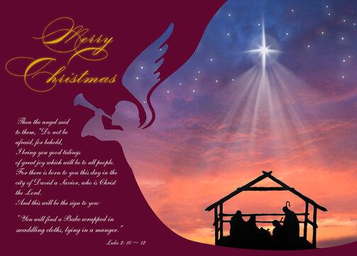 Christmas nativity scene of baby Jesus in the manger with Joseph, Mary, shepherd and angel proclaim