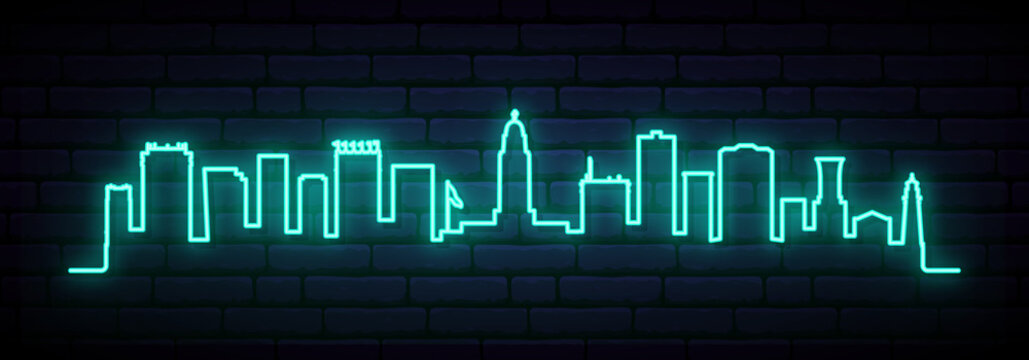 Blue neon skyline of Lincoln. Bright Lincoln City long banner. Vector illustration.
