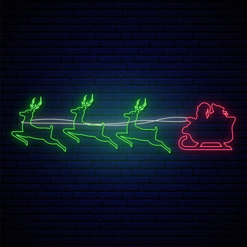 Neon Santa Claus flies in a reindeer harness. Merry Christmas and Happy New Year. Bright lightning signboard. Vector illustration.
