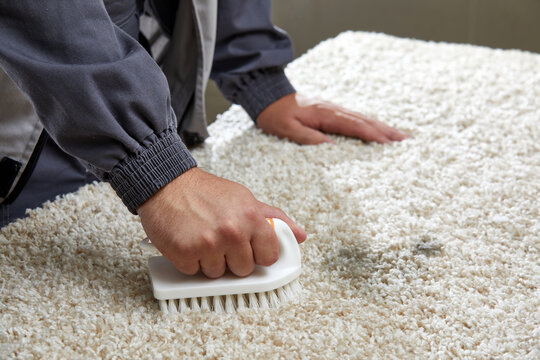 Man Spraying Detergent On Grey Carpet To Remove Stain in professional cleaning service