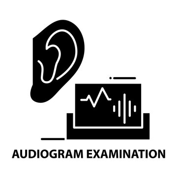 audiogram examination icon, black vector sign with editable strokes, concept illustration