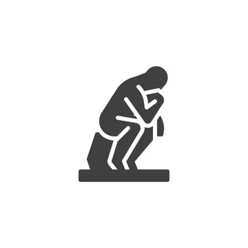 Thinking man statue vector icon. filled flat sign for mobile concept and web design. Thinking man sculpture glyph icon. Symbol, logo illustration. Vector graphics