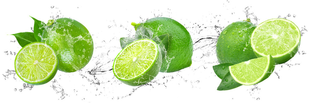 Fresh Limes with water splash on isolated white background
