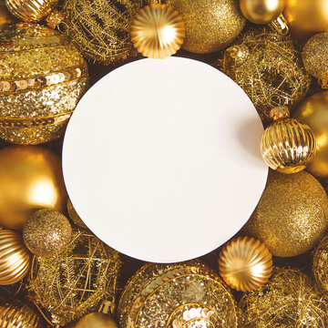 Christmas card with space for text, Golden Christmas and new year balloons, color 2021