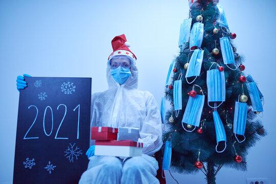 Celebrating Christmas and New Year's eve in quarantine during Covid 19 / Coronavirus pandemic.