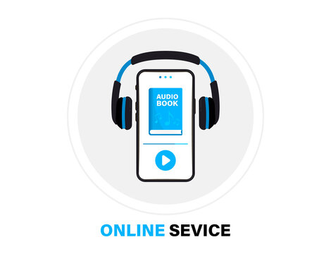 Audiobooks logo. Listen literature, e-books in audio format. Books online mobile application flat icon. Online audiobook with headphones, distance education e-learning. Podcast, Webinar, Tutorial