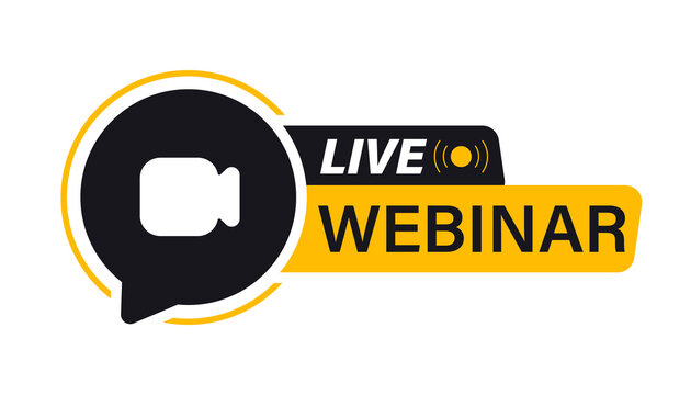 Live Webinar Button. Video Internet conference icon. Live stream, internet education. Internet broadcast. Live video streaming. Online conference, distance communication. Team meeting, Remote work