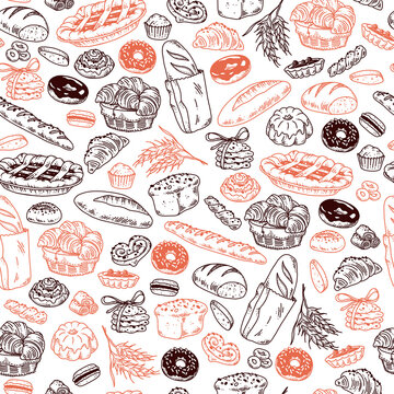 Vector seamless pattern with bakery goods - pie, bread, cookie, donut, croissant - outline isolated objects on white background. Hand drawn doodle style. Vector illustration. Packaging wrapping paper.