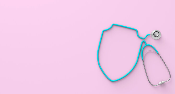 Stethoscope in the form of a shield on pink background. 3d render