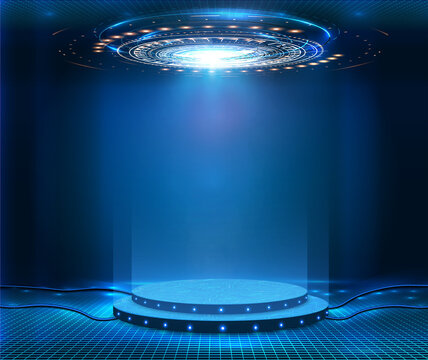 Futuristic empty stage. Modern Future background technology Sci-fi interior concept. Podium for show your product. futuristic cyberpunk concept. Circle presentation podium template for UI, UX, KIT,GUI