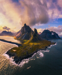 Wall Mural - Aerial View of the Eystrahorn with Krossanesfjall Mountain in Iceland at sunset