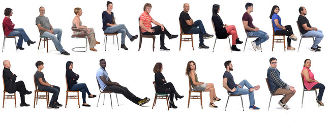Fototapeta Group of people sitting on chair on white background