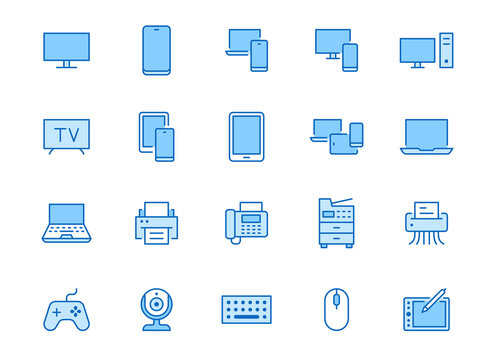 Devices line icons set. Computer, laptop, mobile phone, fax, scanner, smartphone minimal vector illustrations. Simple flat outline sign for web, technology app. Blue color, Editable Stroke