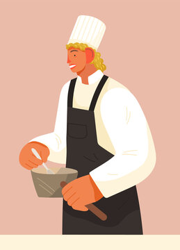 Chief-cooker young man at work. Cartoon chief cooking in restaurant professional kitchen. Food industry, restaurant service illustration. Chef in black apron cook food mix with a spoon in a pan