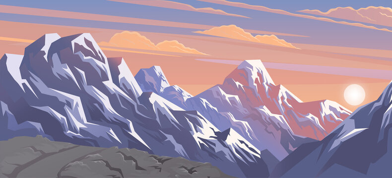 Mountains landscape, abstract lilac sunset panoramic view, vector illustration. Snow capped mountains background. Beautiful view of the mountaine landscape with snow-capped peaks on a cloudy sky