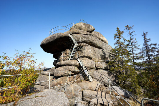 """""""Ottofels"""" - a 36 meters high rock in the National Park """"Harz"""" in Germany"""