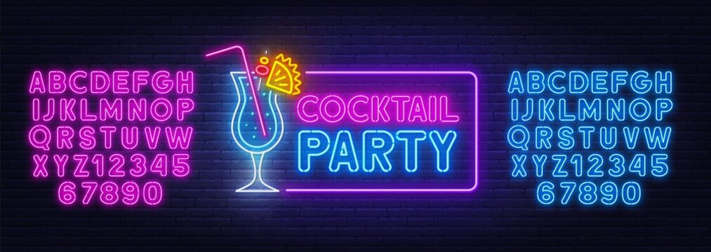 Cocktail Party neon sign on brick wall background. Blue and pink neon alphabets. Template for the design.