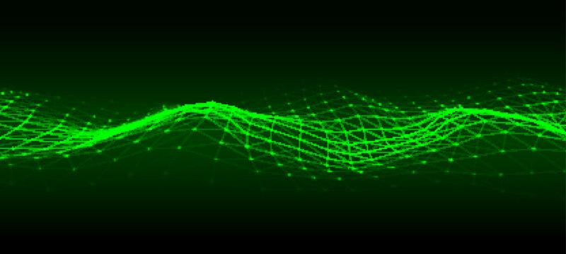Vector futuristic wave. Digital technology. Big data.