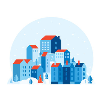 Winter urban landscape in a minimal geometric style. Festive snow city. Cozy houses on a hill among Christmas trees and snowdrifts. New year and Christmas landscape. Abstract vector flat illustration.