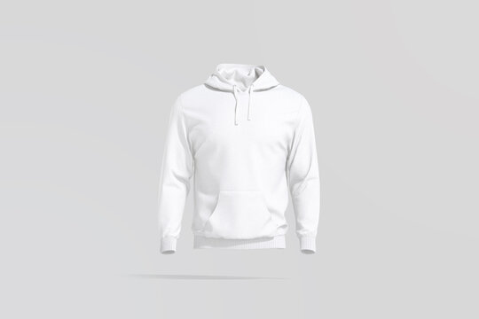 Blank white sport hoodie with hood mockup, gray background
