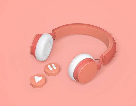 orange wireless headphones 3d rendering