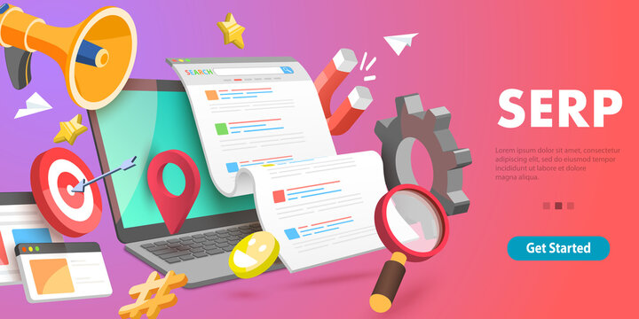 3D Vector Conceptual Illustration of SERP - Search Engine Result Page.