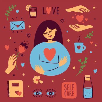 Set of self care vector icons on dark background. Girl hugging herself. Female hand holding flower. Bottle of water, diary, cup of tea, love, hearts sticker. Woman eyes. Body positive illustration