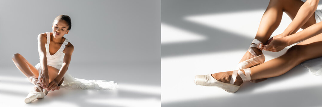 collage of graceful african american ballerina in pointe shoes sitting on floor on white background, banner