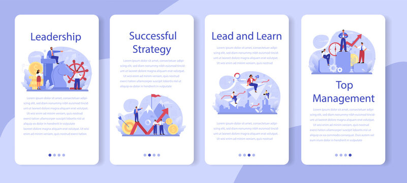 Leadership mobile application banner set. Manager leading a workteam. Strategy